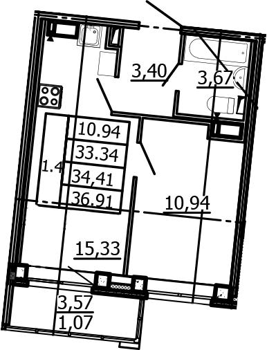 2-к.кв (евро), 36.91 м²