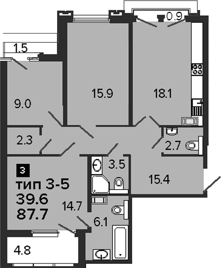 3-комнатная, 87.7 м²– 2
