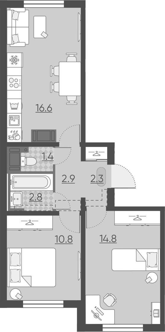 3Е-комнатная, 51.6 м²– 2