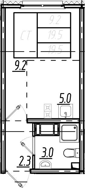 Студия, 19.5 м²– 2
