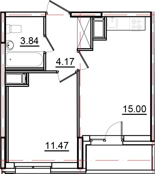 2Е-к.кв, 36.28 м², от 13 этажа
