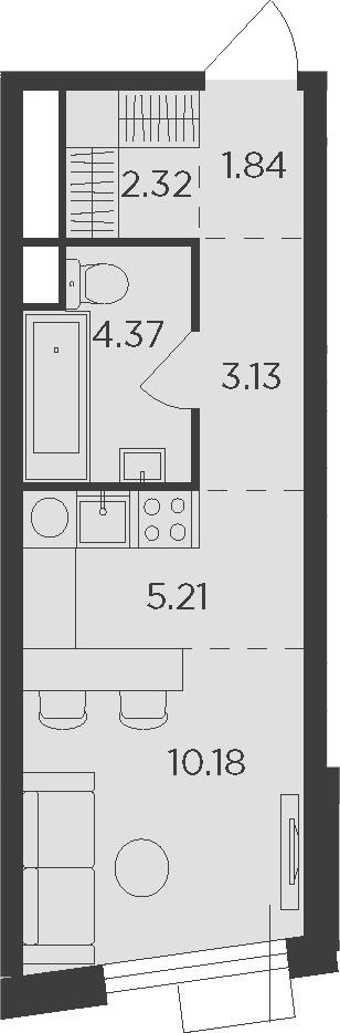 Студия, 27.05 м²