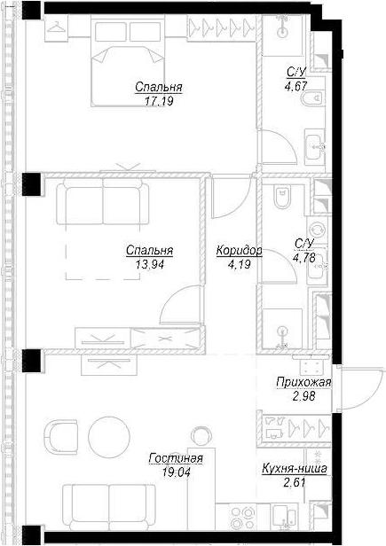 3Е-комнатная, 69.41 м²– 2