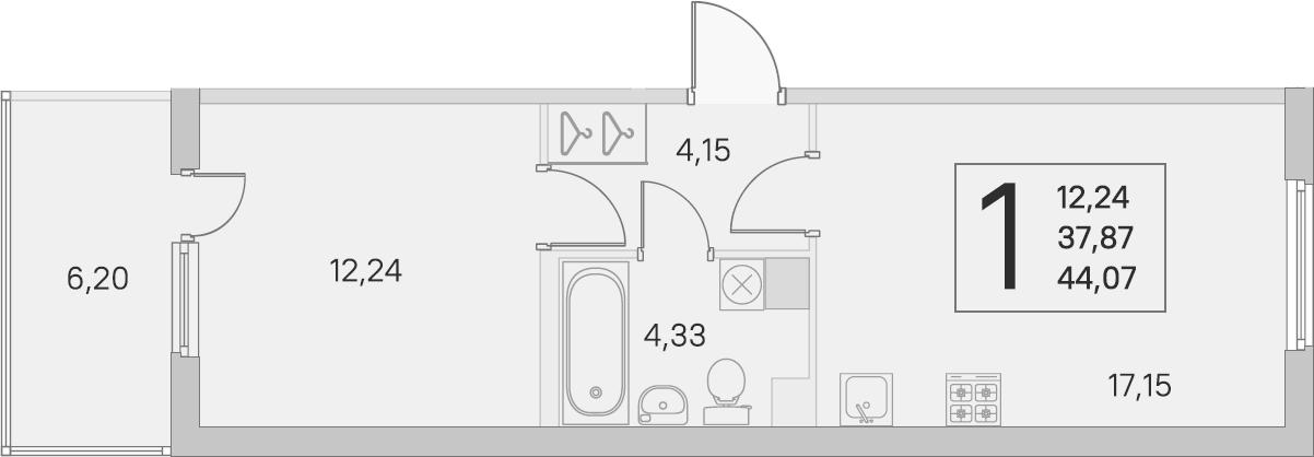 2Е-комнатная, 37.87 м²– 2