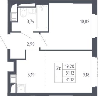 2Е-к.кв, 31.12 м², 9 этаж