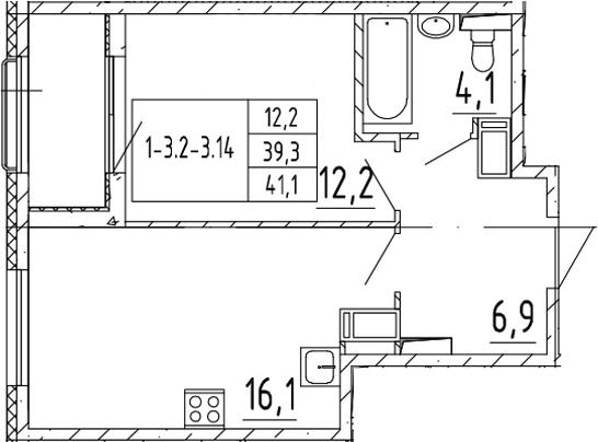 2Е-к.кв, 41.1 м², 11 этаж
