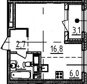 Студия, 31.1 м²– 2