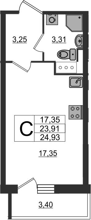 Студия, 27.31 м²