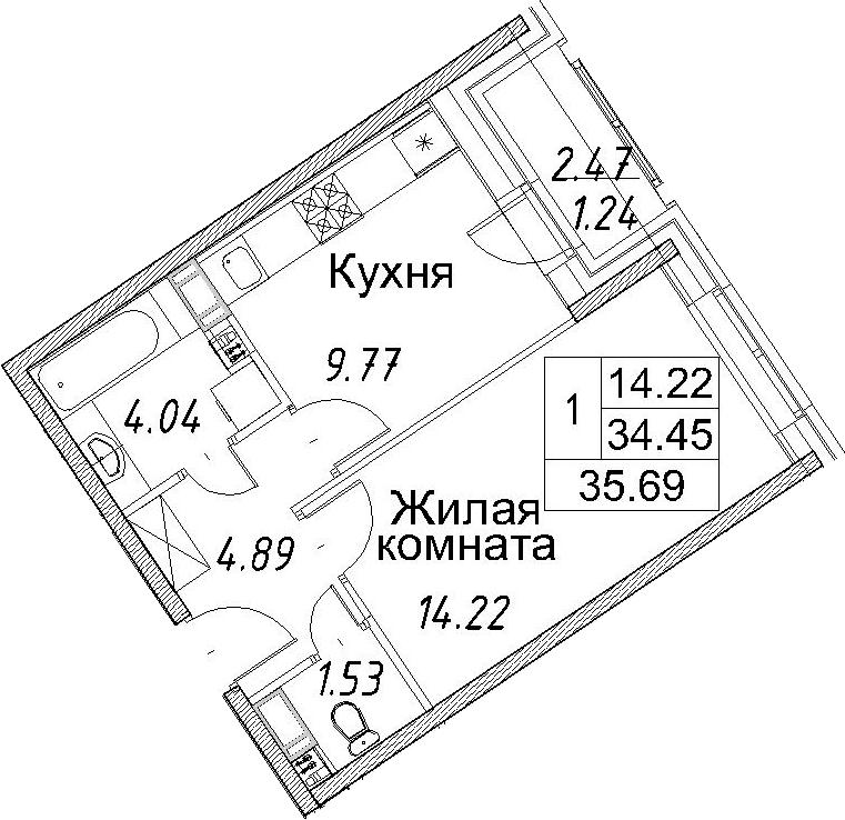 1-к.кв, 36.93 м²