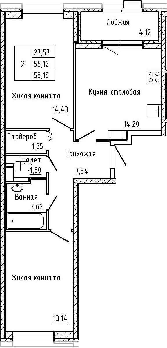 2-к.кв, 58.18 м²