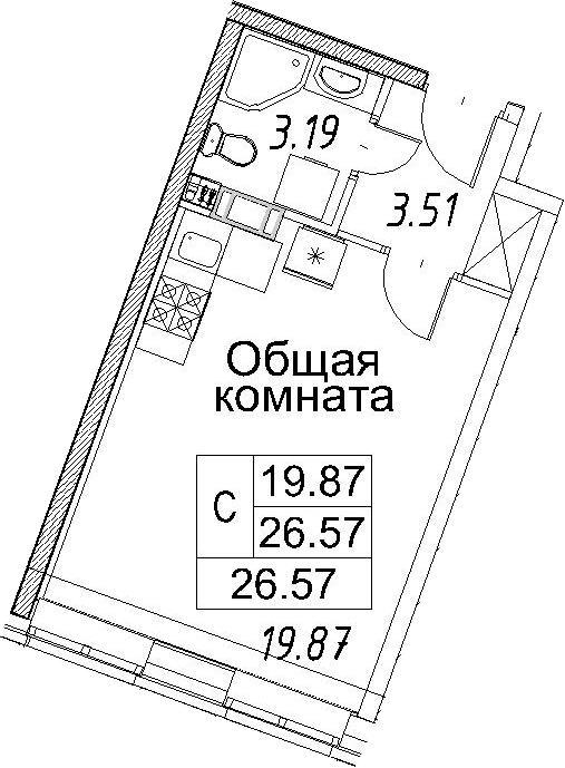 Студия, 26.57 м²