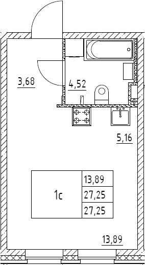 Студия, 27.25 м²