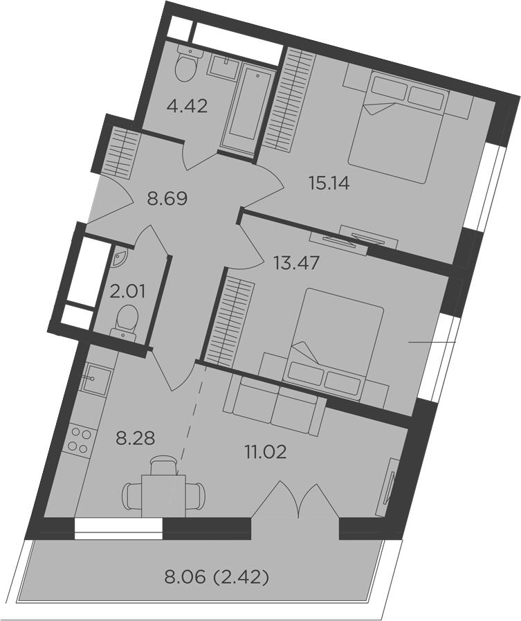 3Е-к.кв, 65.45 м², 12 этаж