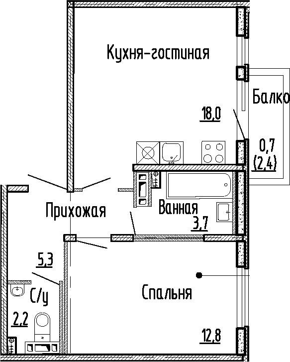 2Е-комнатная, 42 м²– 2