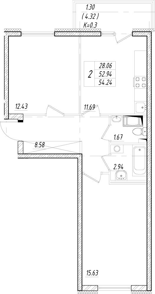 2-к.кв, 52.94 м²