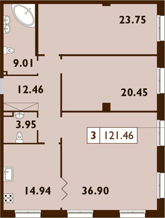 3-к.кв, 121.46 м²