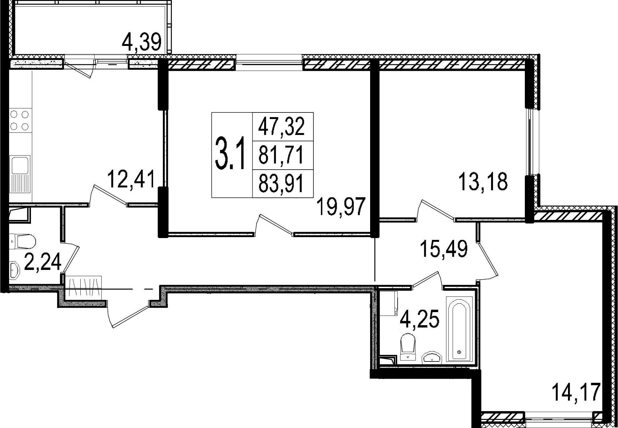 3-к.кв, 86.1 м²