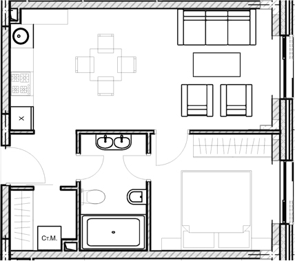 Своб. план., 39.6 м²