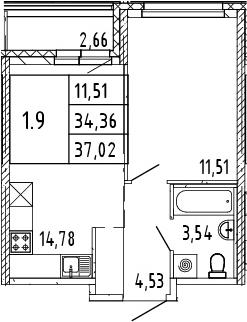2Е-комнатная, 37.02 м²– 2