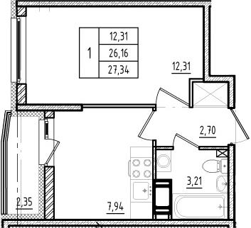 1-комнатная квартира, 26.16 м², 11 этаж – Планировка