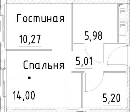 1-к.кв, 40.45 м²