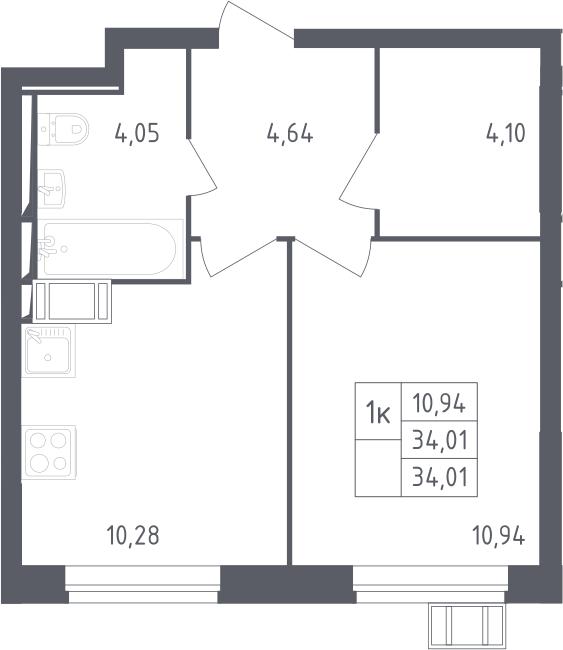 1-к.кв, 34.01 м², от 9 этажа