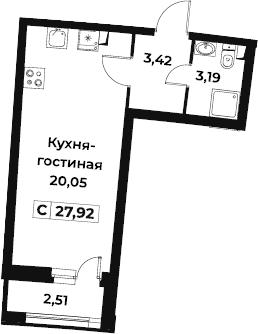 Студия, 27.92 м²