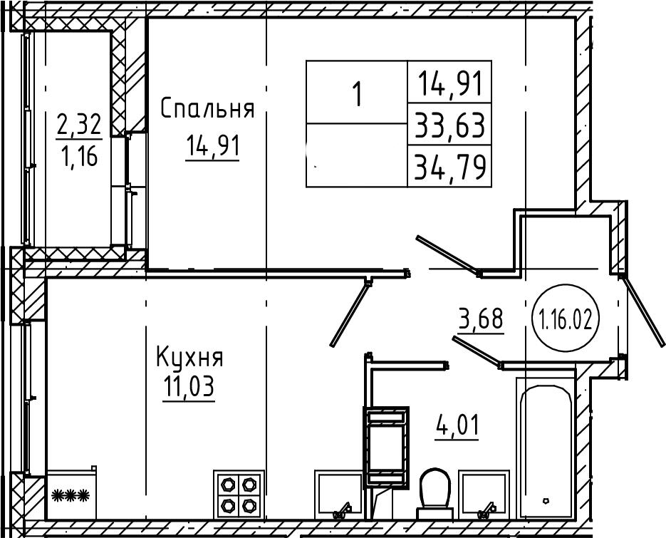 1-к.кв, 34.79 м², от 3 этажа