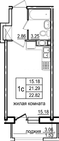 Студия, 22.82 м²