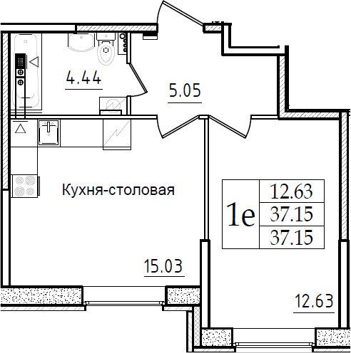 2Е-к.кв, 37.15 м²
