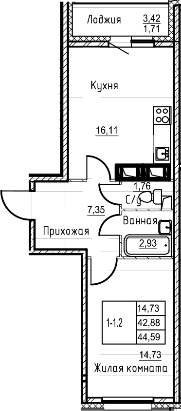 2Е-комнатная квартира, 44.59 м², 20 этаж – Планировка