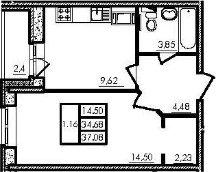 1-комнатная, 34.62 м²– 2