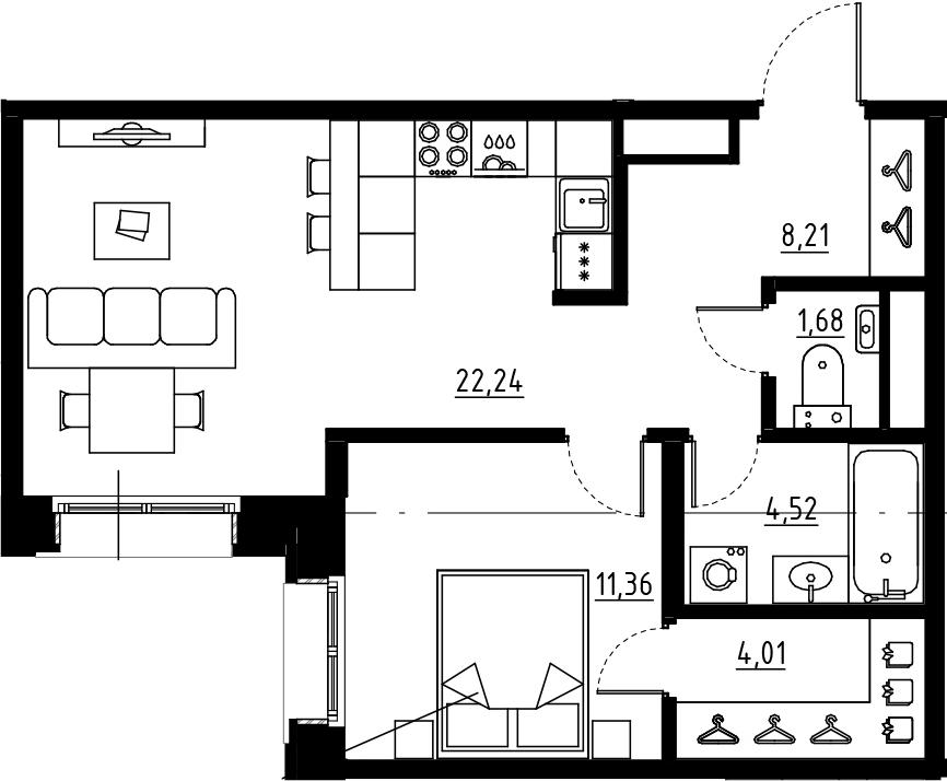 2Е-комнатная, 52.01 м²– 2