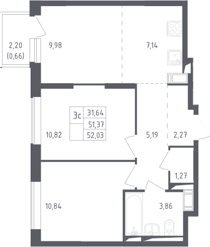 3Е-к.кв, 52.05 м²