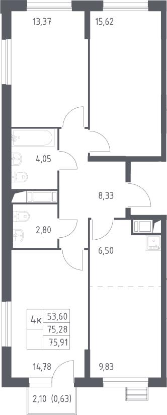 4Е-комнатная, 75.91 м²– 2