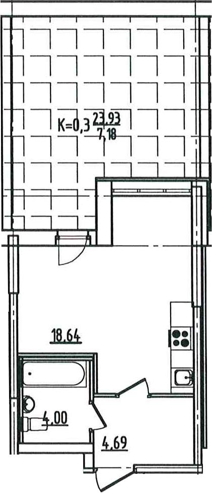Студия, 34.51 м², 2 этаж – Планировка