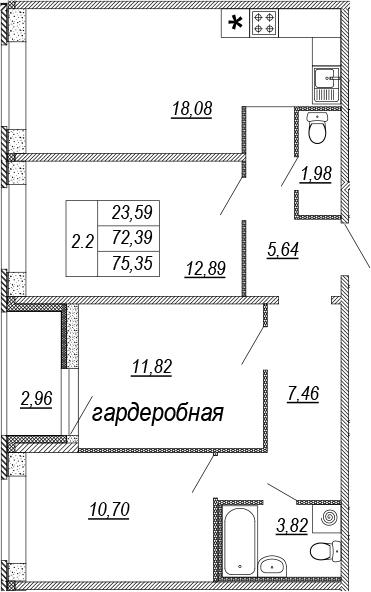 3Е-к.кв, 72.39 м², 1 этаж