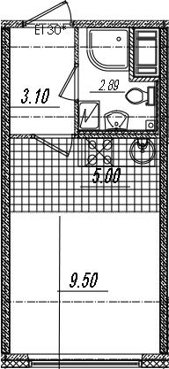 Студия, 20.49 м²– 2
