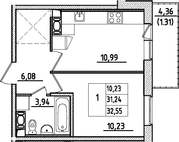 1-к.кв, 35.61 м²