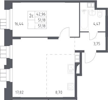 2Е-комнатная, 51.18 м²– 2