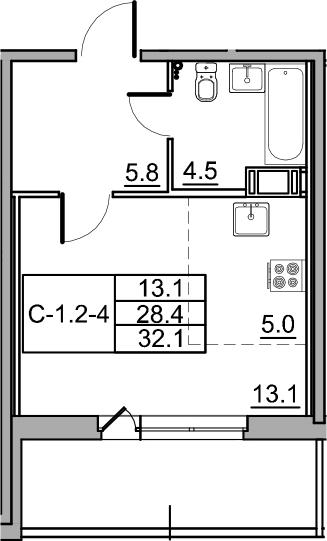 Студия, 35.8 м²