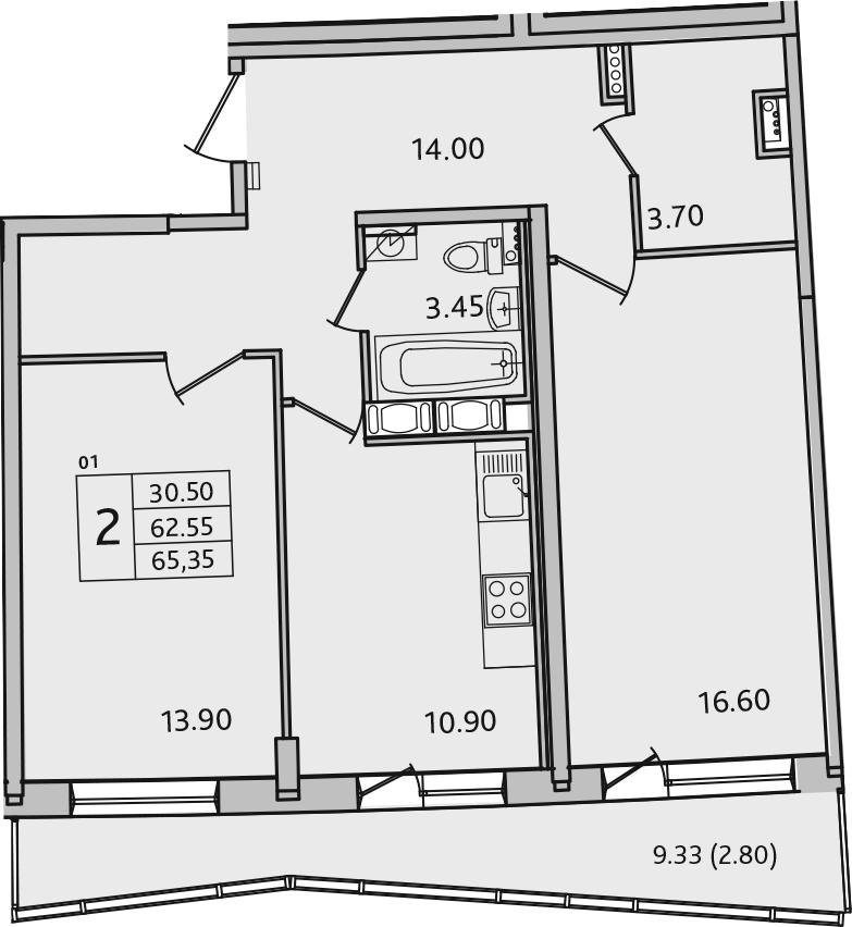 2-к.кв, 65.35 м²