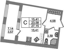 Студия, 23.58 м², 3 этаж
