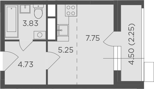 Студия, 23.81 м², 12 этаж