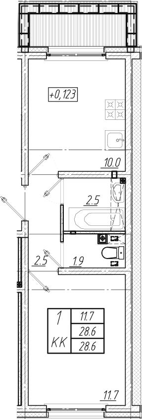 1-к.кв, 28.6 м², 1 этаж