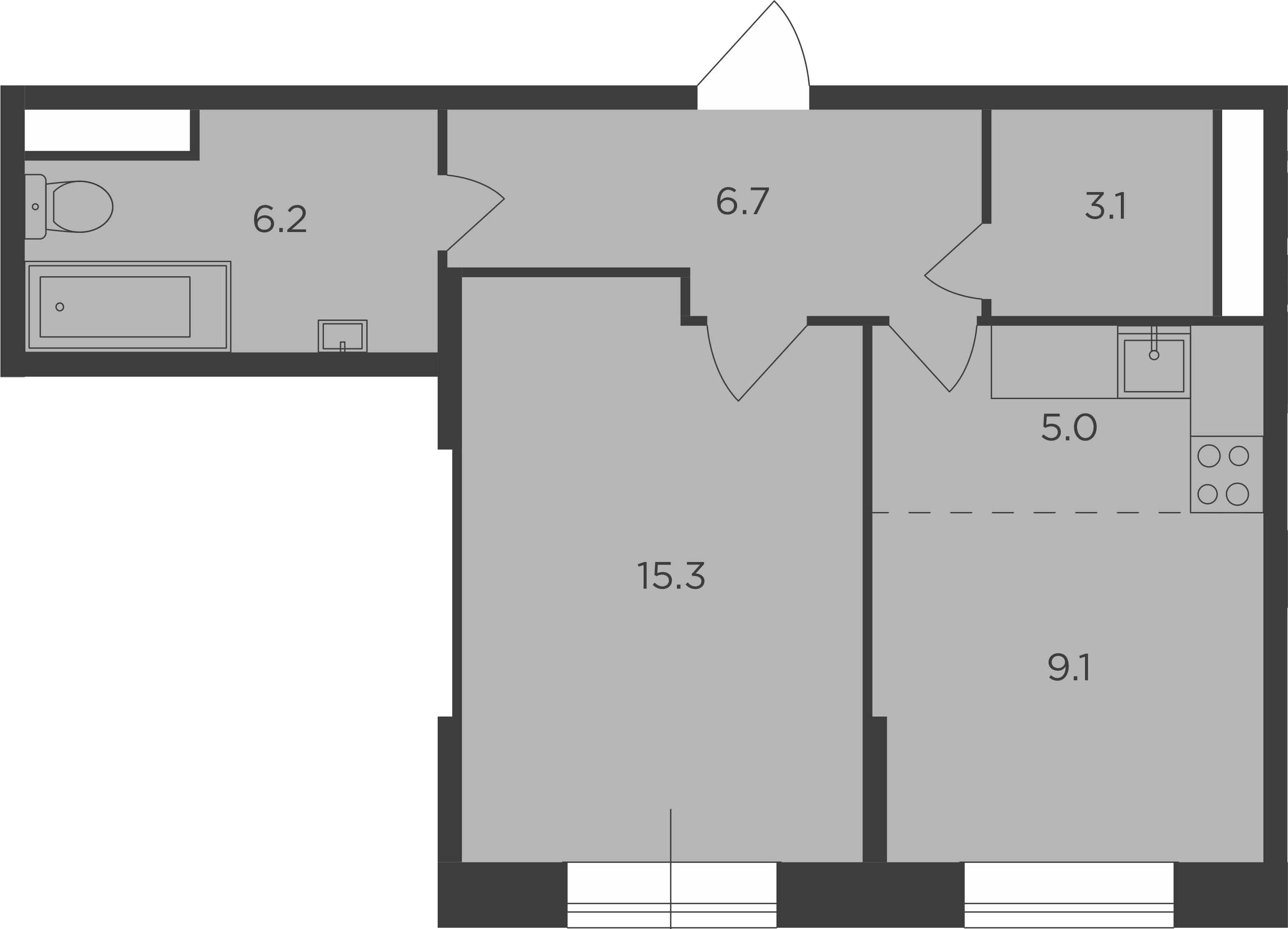 2Е-к.кв, 45.4 м²