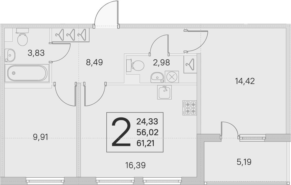 3Е-к.кв, 56.02 м², 1 этаж