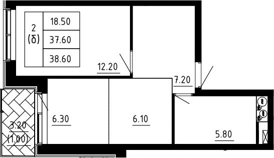 2Е-к.кв, 38.6 м²