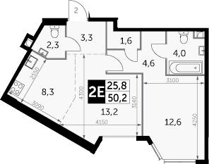 2Е-комнатная, 50.2 м²– 2