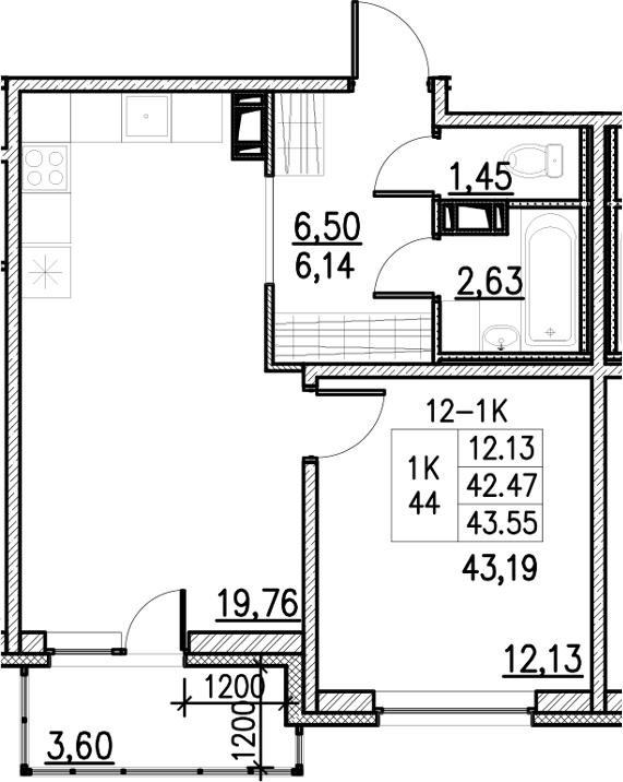 2Е-комнатная, 43.55 м²– 2